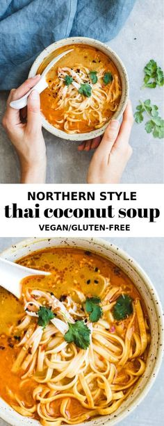 This northern-style vegan thai coconut soup recipe is a healthy and easy meal that is made with Thai curry and loaded with noodles Coconut Soup Recipes, Thai Coconut Soup, Whole Food Recipes, Cooking Recipes, Thai Soup, Thai Curry, Thai Cooking, Coconut Curry, Cooking Ideas