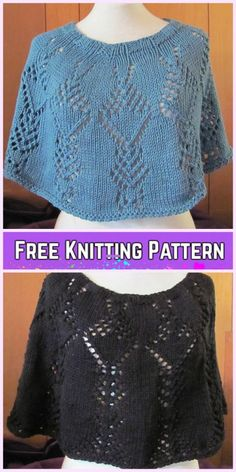Knit Crystal Trees Poncho Free Knitting Pattern