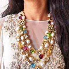 One Necklace Endless Possibilities For option two of three we decided to go the Indian route and were completely astonished at how the #SidraNecklace utterly transformed this monotone cape #Love #Fashion #Jewelry #IndianNecklace #Prerto #MustHave #White #Multicolor #Pearls