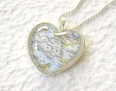World Traveler Heart Shaped Map Necklace - Iran featuring Tehran, Esfahan, and Shiraz