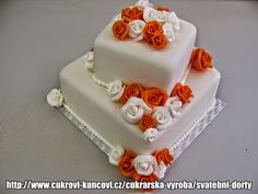 svatební dvoupatrový dort čtverec s bílo- oranžovými růžemi