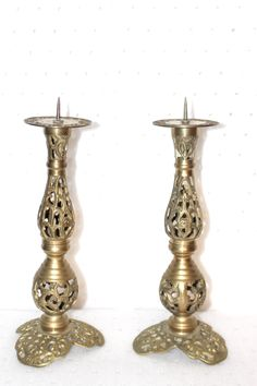 Vintage Solid Brass, Pair of, Hand Made, Cut Out Candle Stick Holders, 1 to 2 inch, Taper Candles, Stunning A Plus Quality, No Damage by QUEENIESECLECTIC on Etsy
