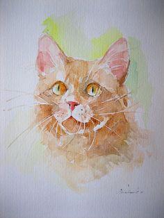 """Aquarell,24x32 cm""""Rote Katze"""""""