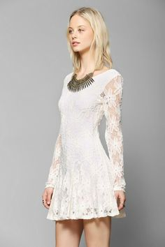 Lucca Couture Long-Sleeve Lace Fit & Flare Dress #urbanoutfitters