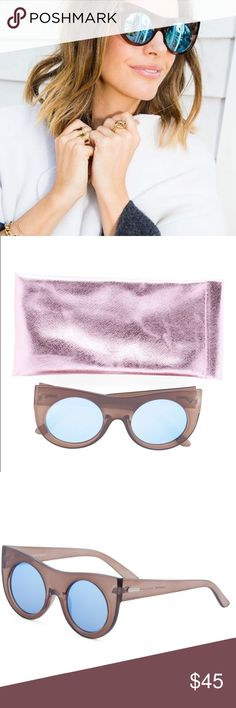 MINKPINK | Double Cross Blue Mirrored Sunnies Brown cat eye frame from MINKPINK with blue mirrored lenses, soft pink case included. NWTs. MINKPINK Accessories Sunglasses