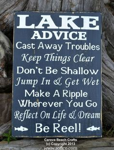 Lake House Decor - Lake Sign - Advice From A Lake - Wood Wall Lake Hom – The Sign Shoppe