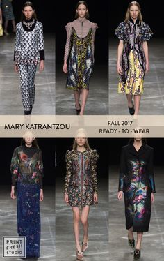 Fall 2017 Ready-to-wear Runway Print & Pattern Trends- Mary Katranzou Images: vogue.com mixed prints, ditsy florals, spliced prints, tropical leaf print, dark grounded florals