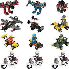 12 Mini Building Block Vehicle Sets Police Motorcycle (not on his list)