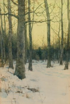 """Early Morning, Winter,"" Charles Warren Eaton, 1889, watercolor, 19 1/4 x 13 1/4"", private collection."