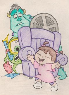 Monster's, Inc. need to draw Disney Character Drawings, Disney Drawings Sketches, Cute Disney Drawings, Cool Art Drawings, Pencil Art Drawings, Doodle Drawings, Doodle Art, Easy Drawings, Drawing Sketches