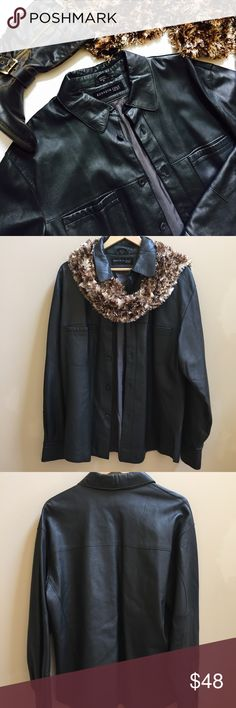 Kenneth Cole Leather Jacket Lightweight leather jacket, size medium, excellent used condition, get ready for crispy fall weather, I'm undecided about the color, it's kind of a brownish black Kenneth Cole Jackets & Coats