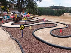 Sunny Patch Daycare in Valley Springs, CA. Home made race track.