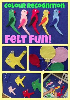 """Toddler Fun with Felt Games!  Could make a """"quiet book"""" in felt about colors for the color discovery bag"""