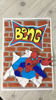 1. Paint a wall on A3 paper. Tape the paper on a plate, so you create a kind of border 2. Paint another A3 half in 1 colour 3. Take a copy of a superhero, glue on thick paper, color and cut  4. Draw a word, glue on color paper, cut and glue on another color paper and make shadow with  a marker 5. Make a hole in the wall, just half the paper. Don't cut, ripp it!  6. Fold back the ripped pieces and glue the superhero into the hole 7. Glue the word above the hole 8. Ready! Paper Tape, A3, Markers, Art Ideas, Disney Characters, Fictional Characters, Plate, Colour, Superhero