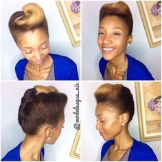 Give this cute pompadour a go. Roll and tuck the back, and finish off with a pompadour. | 15 Super Easy Protective Styles That Anyone Can Do
