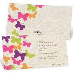 Bright Butterflies -- Baby Shower Invitations
