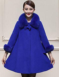 Casual/hétköznapi / Nagy méretek Egyszerű Téli-Női Kabát,Egyszínű Kerek Hosszú ujj Kék / Sárga Gyapjú / Műszőrme Vastag