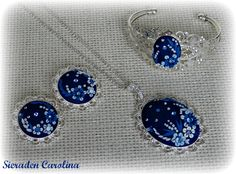 """Jewery set """"Embroidery Blue Flowers"""" Made with polymer clay by Sieraden Carolina"""