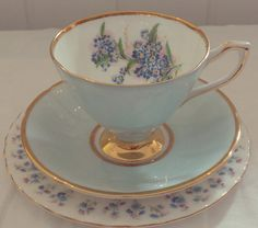 Very Pretty Vintage Clare Blue Floral MisMatch Tea Set, Fine Bone China Tea Set Trio with gold gilding, afternoon tea