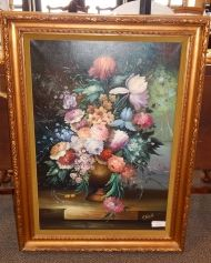 Large Floral Oil on Canvas