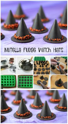 You don't need magical powers to make these simple 4 ingredient Nutella Fudge Witch Hats for Halloween. See how easy they are to make at… Halloween Party Snacks, Halloween Appetizers, Halloween Dinner, Halloween Desserts, Halloween Cupcakes, Halloween Costumes, Group Halloween, Nutella Fudge, Holiday Treats