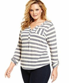 Lucky Brand Jeans Plus Size Top, Long-Sleeve Striped Henley