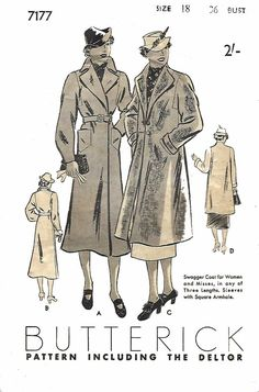 """Vintage 1930's Sewing Pattern Swagger Coat Square Armholes Trench  Rare B 36"""" G #Butterick"""