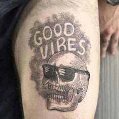Good Vibes by @thepaperweight at @blackbird_electric_tattoo in Calgary Alberta. #goodvibes #skull #sunglasses #dotwork #blackwork #thepaperweight #blackbirdelectrictattoo #calgary #alberta #canada #tattoo #tattoos #tattoosnob
