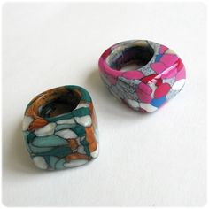 Polymer clay rings...i don't like colors but the idea is good