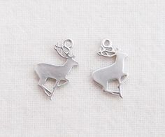 [D1281-MS-DR]matt rhodium - Matt Rhodium Plated Mini Deer Pendant, 4 pcs