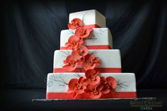 coral wedding cakes | Coral orchid wedding cake.