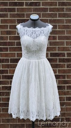 short scoop princess lace wedding dress by Lemandyweddingdress, $185.00. When we renew our vows, I would love to wear this dress!