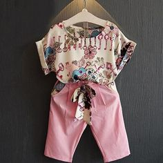 Summer Toddler Kids Baby Girls Outfits Clothes Short Sleeve T-shirt Tops + Pants Shorts - Kid Shop Global - Kids & Baby Shop Online - baby & kids clothing, toys for baby & kid Girls Summer Outfits, Toddler Girl Outfits, Toddler Fashion, Short Outfits, Summer Girls, Spring Outfits, Kids Outfits, Girl Fashion, Fashion Outfits