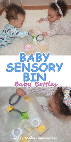 A simple baby sensory bin for month old babies using all the baby bottles and parts you have collected! Edible Sensory Play, Baby Sensory Play, Sensory Bags, Sensory Activities, Baby Play, Infant Activities, Activities For Kids, Sensory Table, Toddler Class