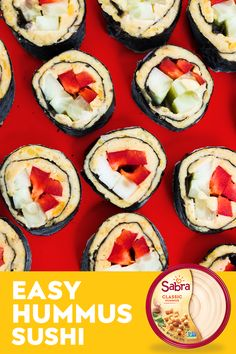 For flavor that's on a roll, try this easy Hummus Sushi recipe! All you need is some Sabra hummus, your favorite veggies, and a sushi roller to start your new obsession. It's a game-changing way to enjoy your veggies. Sushi Recipes, Appetizer Recipes, Beef Recipes, Vegetarian Recipes, Snack Recipes, Cooking Recipes, Healthy Recipes, Kitchen Recipes, Recipies