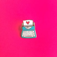 Typewriter Love // cloisonné hard enamel pin by TheUncommonPlace Desu Desu, Pins Badge, Bag Pins, Jacket Pins, Badges, Hard Enamel Pin, Cool Pins, Pin And Patches, Ideas