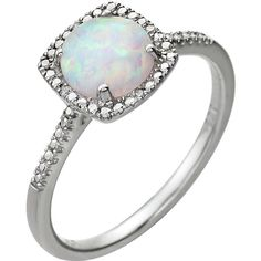 652049 / Set / Sterling Silver / Created White Opal / Cabochon / Polished / Opal and CTW Diamond Ring Diamond Clarity, Halo Diamond, Opal Rings, Gemstone Rings, Opal Birthstone, Pink Opal, White Opal, Diamond Sizes, Silver Rounds