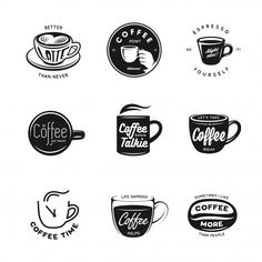 Logo Discover Coffee Related Labels Badges And Elements Set. Coffee related labels badges and elemen. Spice Logo, Art Deco Logo, Smoothie Shop, Coffee Shop Logo, Graph Design, Flyer Design, Cafe Logo, Coffee Poster, Branding