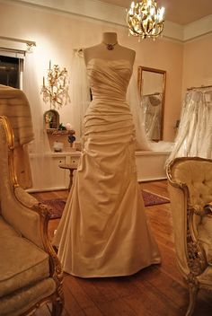 Gorgeous wedding gown in the bridal salon...