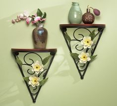 Set of 2 Spring Rose Magnolia Flowers Wall Mounted Shelves Decor Metal Wooden Shelf Home Accent Decoration Wood Wall Shelf, Wall Mounted Shelves, Wooden Shelves, Collections Etc, Magnolia Flower, Corner Shelves, Beautiful Wall, Flower Wall, Home Accents