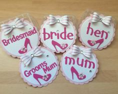 Hen Party Bags with Badge and Label by Wendyshouseofcards on Etsy