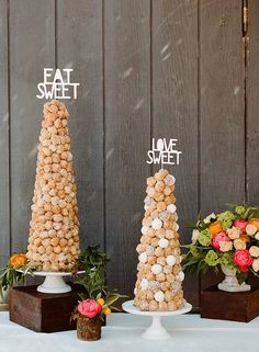 """I'm a sucker for all things polka dot, so at first we thought we'd use chocolate donut holes for """"dots"""" but they were so dark that the donut tower ...."""