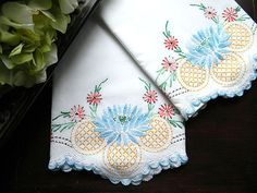 Vintage Embroidered Pillowcases  Crochet Lace by VintageKeepsakes, $28.33