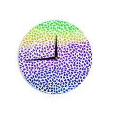 "Sreetama Ray ""Aqua Arrows"" Blue Purple Wall Clock"