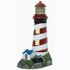 Solarrific Solar Landscape Lighthouse Statuary by Solarrific. $34.99. White LED: About 20000MCD. Width: 7.5 in.. Depth: 5.5 in.. Solar Cell: 2V 80mAH. Height: 13 in.. This picturesque lighthouse is a beautiful addition to any home, patio or garden. Illuminate your environment with this solar powered, wireless, LED Light. No Wiring Needed, automatically turns on at dusk and turns off at dawn. Provides up to 8 hours of light.