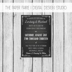 Wedding Invitation - Chalkboard - Shabby Chic Rustic Casual Handwritten Vintage Coffee Cafe Theme Typography - Printable, Custom, DIY Bride by ThePaperFairie, $15.00