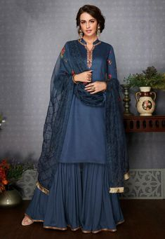 Cotton - Blue - Salwar Suits Online: Latest Indian Salwar Kameez For Women, at Utsav Fashion Indian Salwar Kameez, Salwar Kameez Online, Indian Designer Outfits, Indian Outfits, Designer Dresses, Indian Dresses, Party Suits, Party Wear, Sharara Suit