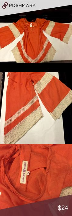 Alter'd State hippie orange w lace blouse Beautiful breezy flare sleeve blouse by ALTER'D STATE🍄size XL Altar'd State Tops