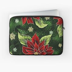 Green Christmas, Back To Black, Laptop Case, Laptop Sleeves, Red Green, Plush, Art Prints, Printed, Awesome