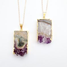 Amethyst Slice Necklace  Geode Druzy Crystal Gemstone  by PinkTwig, $46.00